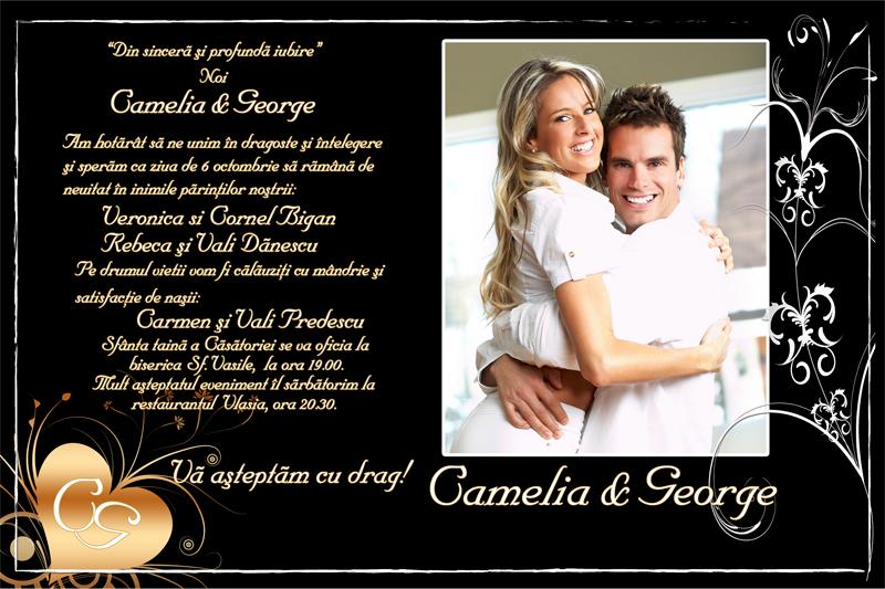 Invitatie Nunta Eleganta Invitatii Elegante Invitatii Unicate