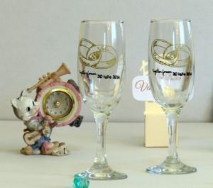Pahare de sampanie pentru nunta personalizate
