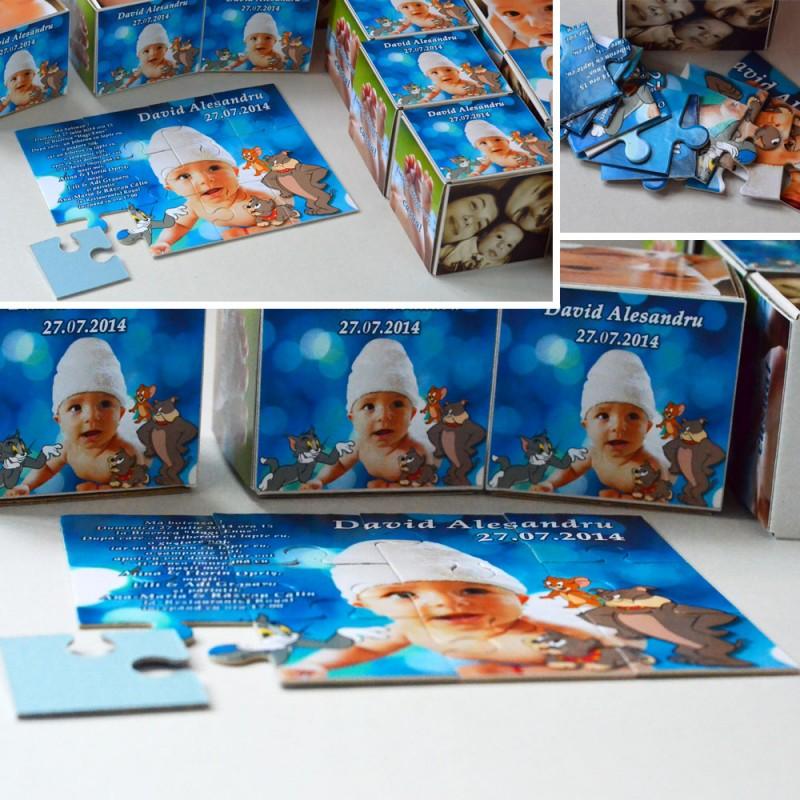 Invitatie Botez Puzzle Cu 12 Piese