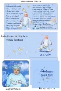 Invitatii Magnetice Bleu Cu Fotografie