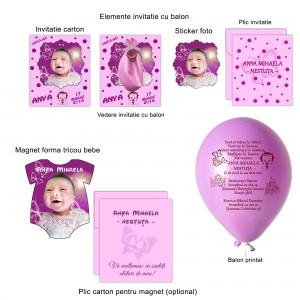 Invitatie cu balon si magnet