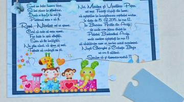 Invitatii puzzle 9 piese in cutiuta pillow lucioasa