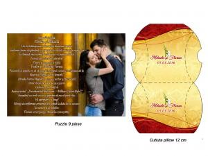 Invitatie Nunta Puzzle Visiniu Auriu