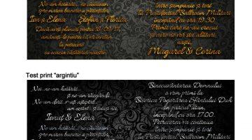 Invitatie personalizata text auriu sau argintiu