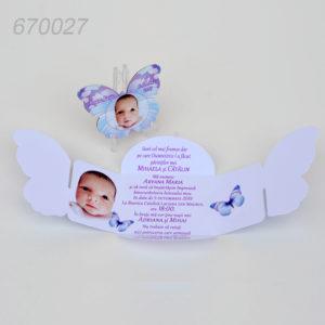 Invitatii Botez Cutie Fluture Cu Magnet Forma Fluture