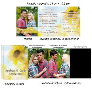Invitatie magnetica Floarea Soarelui