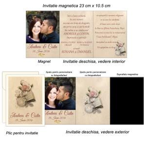 Invitatie magnetica pentru nunta nuanta maro, ivory