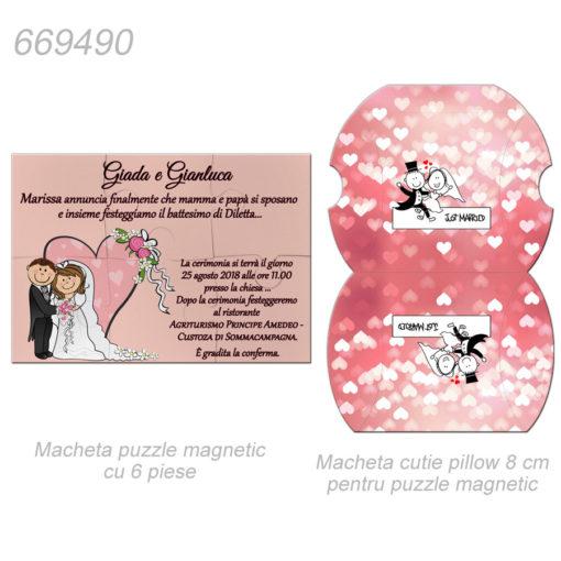 Invitatie Sau Marturie Puzzle Magnetic 6 Piese