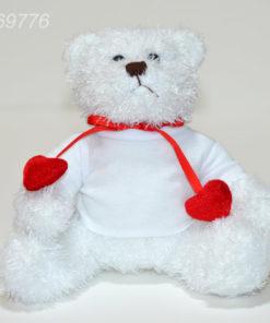 Ursulet Plus ALB Cu Inimioare Si Tricou Personalizat