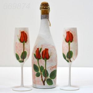 Sticla Vin Cu Pahare Tematica Trandafir