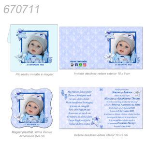 Invitatie cu magnet pentru botez bleu personalizata cu fotografie si text