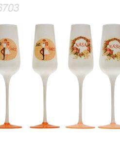 Set 4 pahare sampanie nunta sau botez, pentru miri si nasi