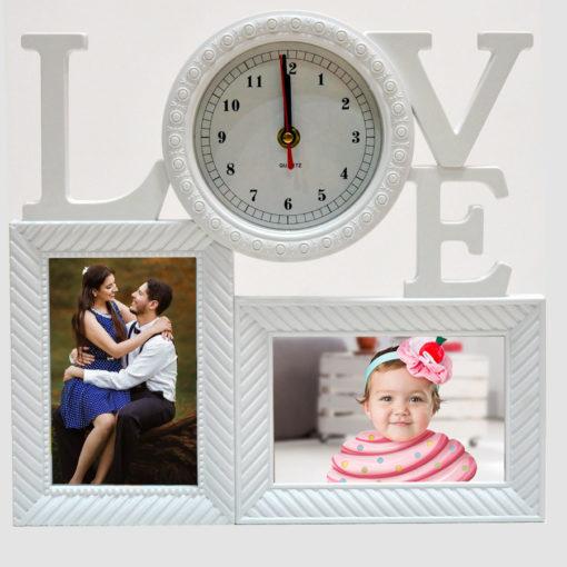 Ceas de perete, rama foto LOVE, personalizata cu doua fotografii 15x10 cm