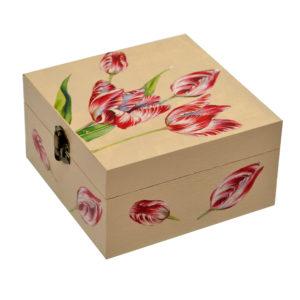 Cutie pentru ceai personalizata cu flori