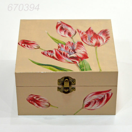 Cutie pentru ceai nuanta ivory tematica lalele