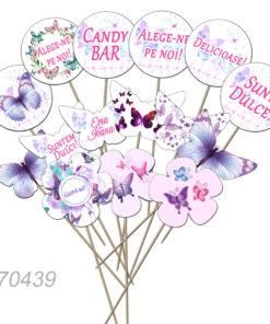 Set de props-uri pentru Candy Bar, tematica Fluture, 15 buc/set