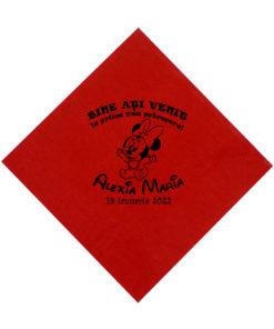 Servetele rosii personalizate pentru pentru botez, tematica Minnie Mouse