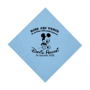 Servetele bleu personalizate pentru pentru botez, tematica Mickey Mouse