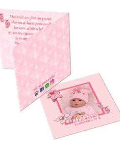 Invitatie pentru botez roz personalizata cu fotografie si text, dimensiune 18x9 cm