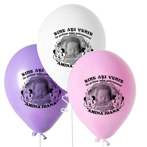 Set 10 baloane personalizate cu fotografie, tematica Minnie Mouse