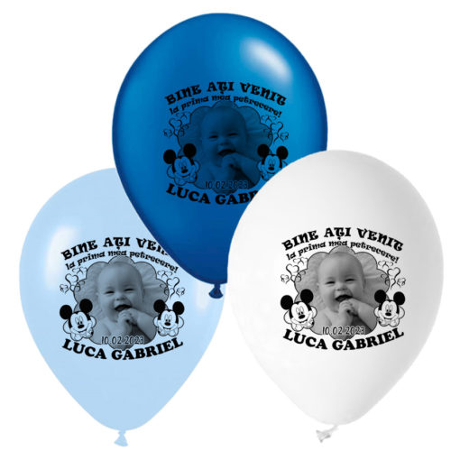 Set 12 baloane personalizate cu fotografie, tematica Mickey Mouse