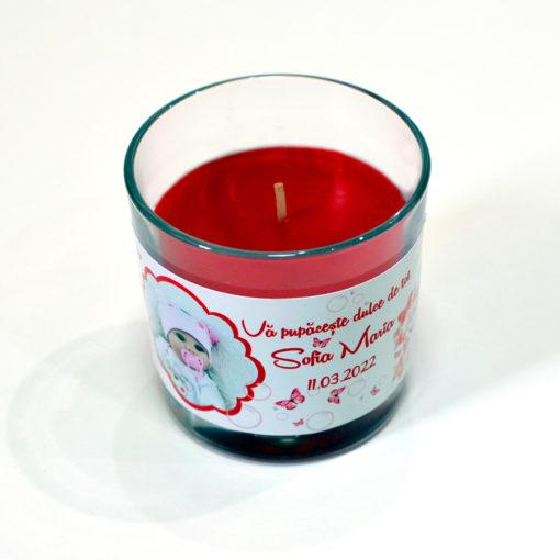 Lumanare personalizata marturie botez tematica fluturasi rosii