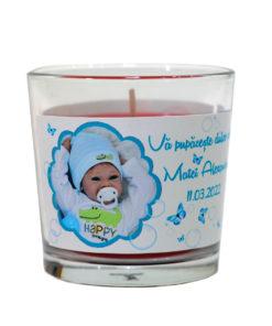 Lumanare personalizata marturie botez tematica fluturasi bleu