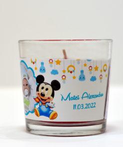 Lumanare personalizata marturie botez tematica Mickey Mouse