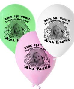 Set 12 baloane personalizate cu fotografie, tematica Frozen Elsa si Ana