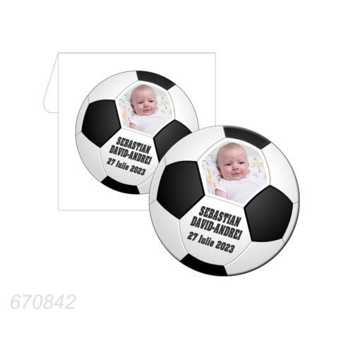 Marturie magnet forma rotunda tematica minge fotbal