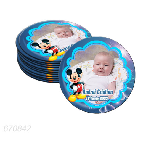 Marturie magnet forma rotunda tematica Mickey Mouse