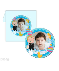 Marturie magnet forma rotunda tematica Baby Boss