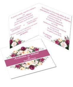 Invitatii pentru nunta tematica florala personalizate cu fotografie