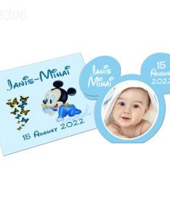 Invitatie Mickey Mouse cu plic bleu
