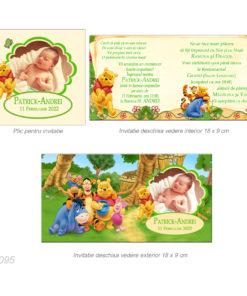 Invitatie botez tematica Winnie The Pooh