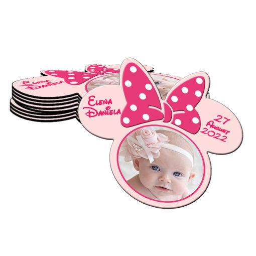 Marturie botez, magnet forma Minnie Mouse cu plic, nuanta roz