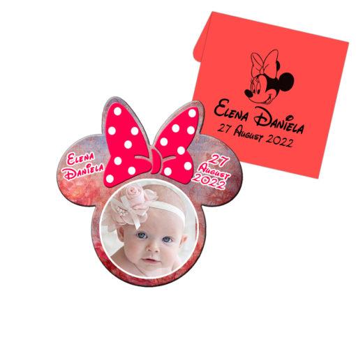 Marturie botez, magnet forma Minnie Mouse cu plic, nuanta rosie
