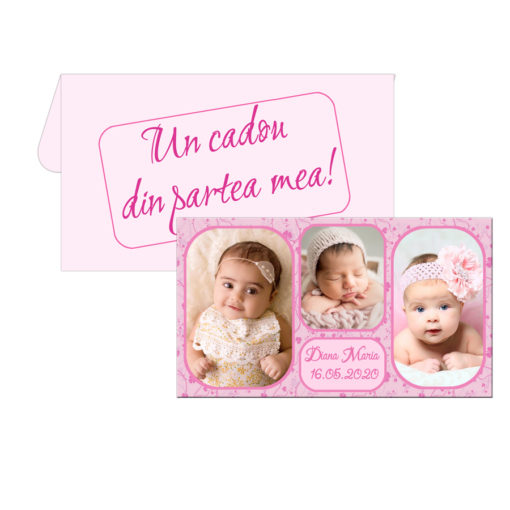 Marturii botez magneti cu plicuri roz incluse personalizate cu 3 fotografii